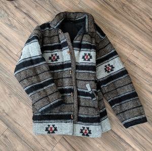 🦙Vintage Raw Wool Aztec Western Coat